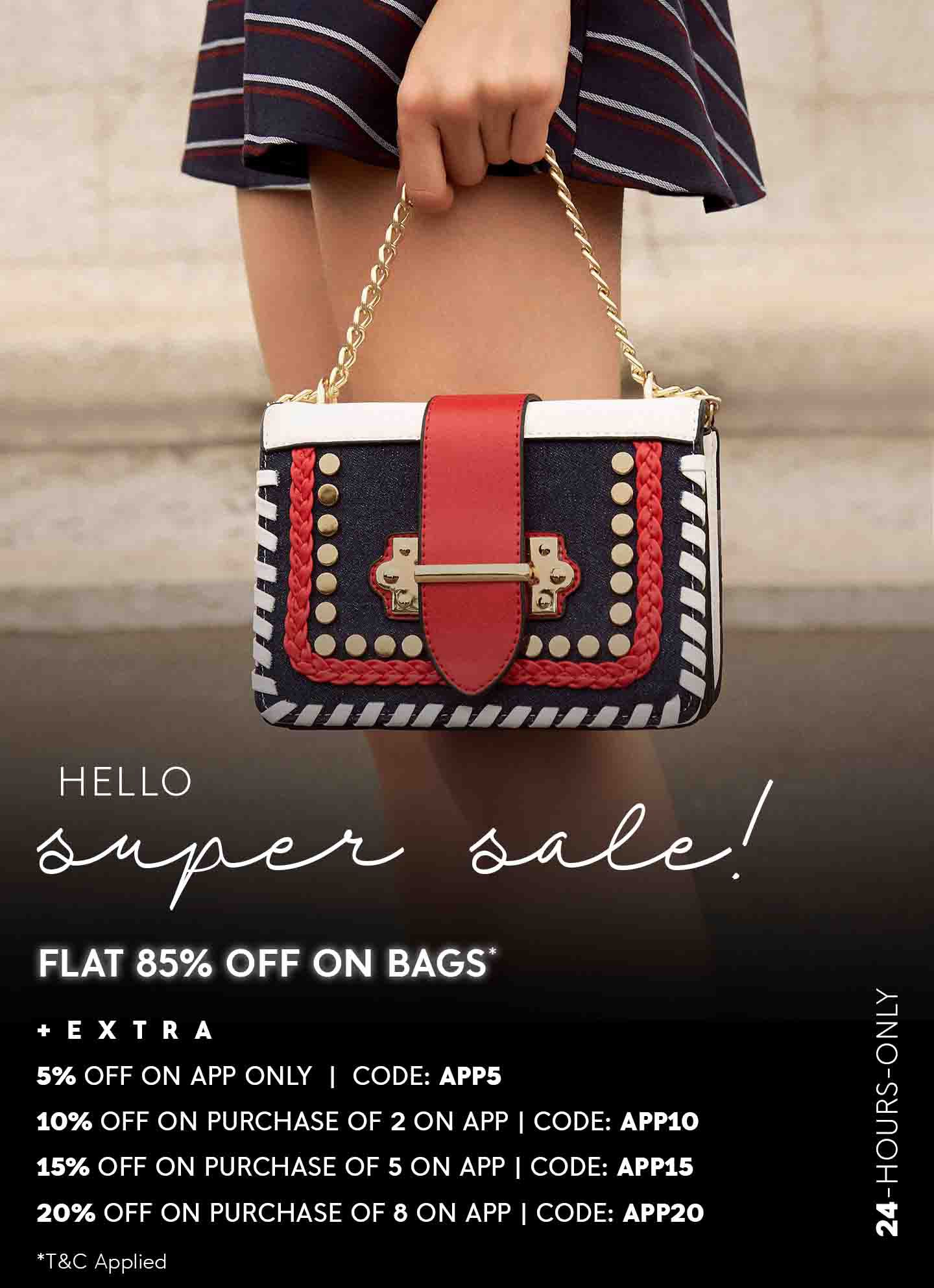 FLAT 85% OFF ON BAGS