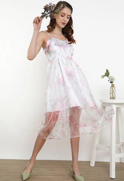I Smell Spring Blooming Pink Sheer Dress