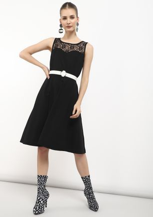 SPIN ME RIGHT ROUND BLACK SKATER DRESS