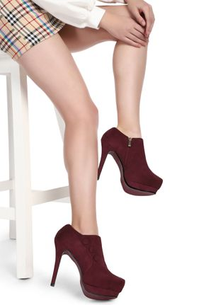 A BUTTON-Y AFFAIR MAROON ANKLE BOOTS