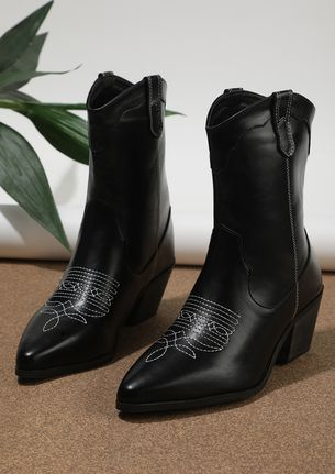 GET TO THE POINT BLACK CALF-LENGTH BOOTS