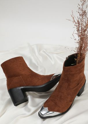 SHINE BY ME BROWN ANKLE BOOTS