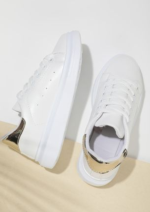 EVERYDAY EASY SLIP-ON GOLDEN COUNTER WHITE TRAINERS