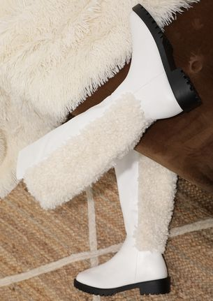 THE SHERPA SIDE WHITE KNEE-HIGH BOOTS