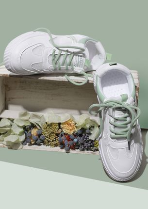 BEING IN PRACTICAL MESH GREEN PANEL TRAINERS
