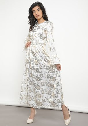FLOWY AND SPARKLY WHITE MAXI DRESS
