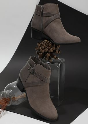 CROSS CHECKING GREY ANKLE BOOTS