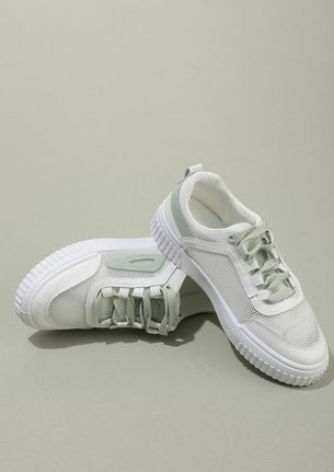 MY WORDS FOLLOW ACTION WHITE GREEN SNEAKERS