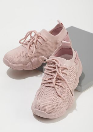 DAMAGE CONTROL IN PINK SOCK-COLLAR TRAINERS