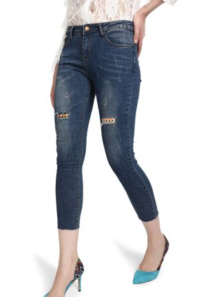 THINKING AZTEC BLUE RIP AND REPAIR SKINNY JEANS