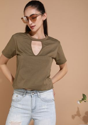 COMFORT IS THE KEY ARMY GREEN TUNIC TOP