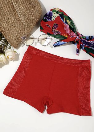 RED BOYSHORTS WITH LACE TRIMMING