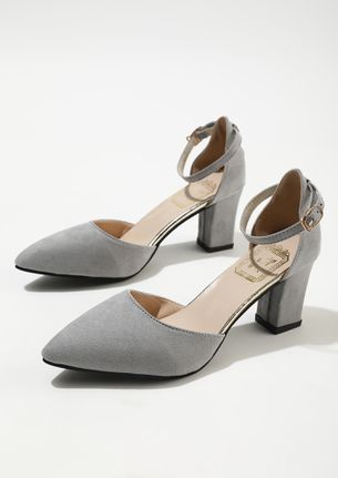 JOIN THE MOVEMENT GREY ANKLE STRAP PUMPS