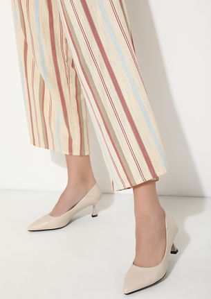 FANCY AN OUTING BEIGE HEELED SANDALS
