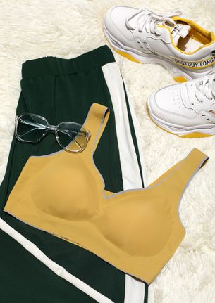 LIGHTLY PADDED NON WIRED YELLOW SPORTS BRA