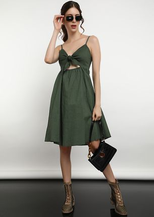 YOU'RE CUTE AND YOU SHOULD KNOW IT GREEN SPAGHETTI DRESS