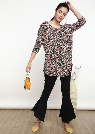 ON A FLOWER TRIP BLACK TUNIC TOP