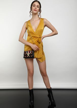 SPRING IS COMING IN SHEEN YELLOW SPAGHETTI DRESS