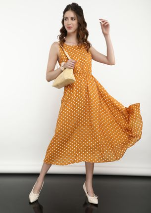 CONNECTING THE DOTS YELLOW MIDI DRESS