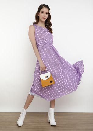 CONNECTING THE DOTS VIOLET MIDI DRESS