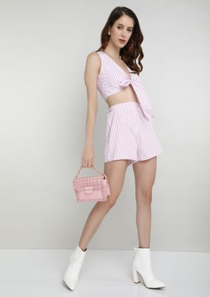 DROP THE LINE ON THIS PINK STRIPED TWO PIECE