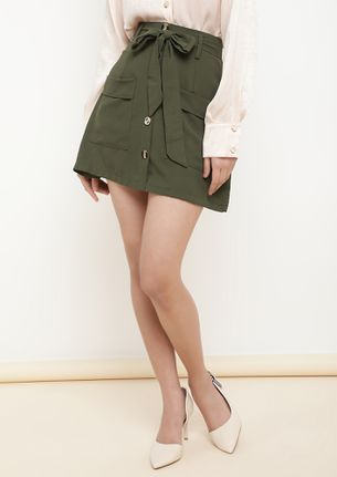 TIE ME A PROMISE GREEN A-LINE SKIRT