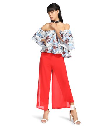 OFF SHOULDER FLORAL TOP, RED PANT SET