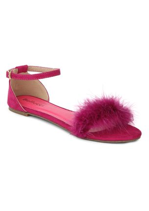 FURRY TOE FUSCHIA PINK FLATS