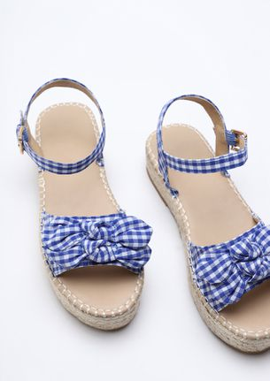 Knotty With Checks Blue Chunky Heeled Sandals