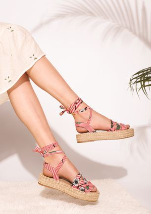 The Nautical Floral Red Platform Wedge Sandals
