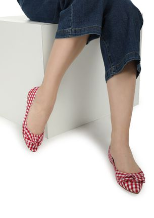 GINGHAM STYLE RED BALLET FLATS