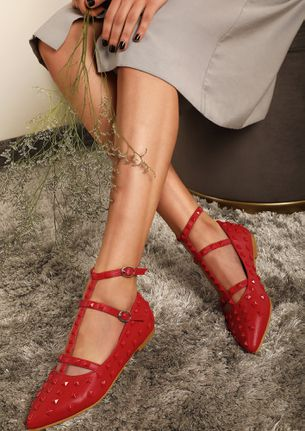 HEAD T-THE-HIGH STREET RED FLAT SHOES