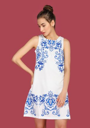 INKED TO PERFECTION WHITE SHIFT DRESS