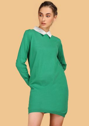 TAKING CARE OF BUSINESS GREEN SHIRT DRESS
