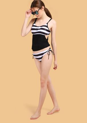 STRIPED SIDE UP BLACK BEACHWEAR SET