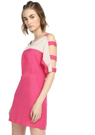 BLOCK ME WITH COLORS PINK TUNIC DRESS