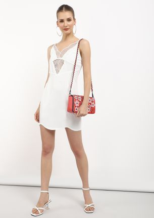 WEAVE LACE ON ME WHITE TUNIC DRESS