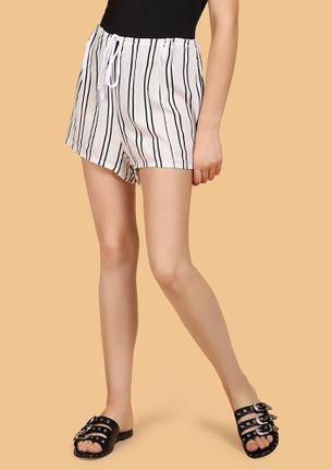 CAN'T DRESS UP NOW STRIPED WHITE SHORTS