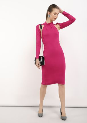 LOVE ME ALL OVER PINK BODYCON DRESS