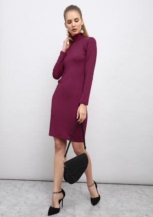 WINE OVER THE HALF MOON FUCHSIA BODYCON