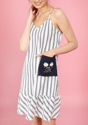 MY LOVE FOR STRIPES WHITE NIGHDRESS