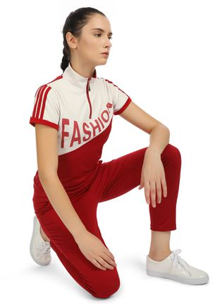 THE FITNESS OUTFIT WHITE RED TRACKSUIT