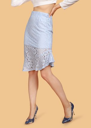 HIGH ON LACE POWDER BLUE MIDI SKIRT