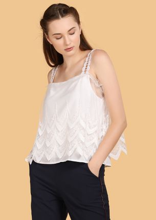 YOU'RE IN A HOT MESH WHITE CAMI TOP