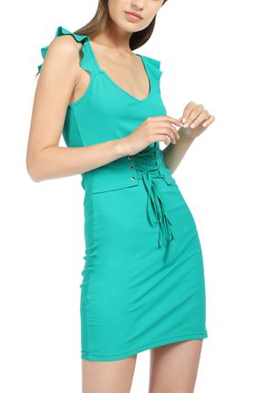 ALL MY EYELETS ON YOU GREEN BODYCON