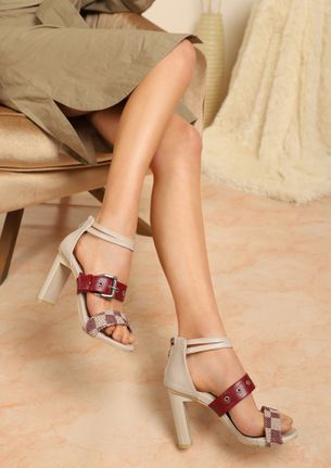 LET'S CHECK THIS A BIT BEIGE HEELED SANDALS