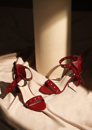 MAKING MOVES RED BLOCK HEELED SANDALS