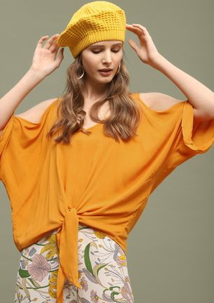 CASUAL FRI-YAYS YELLOW COLD SHOULDER TOP