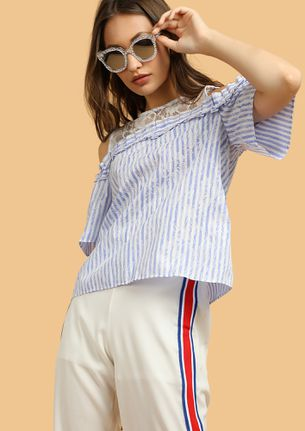 CHIN UP SWEETS COLD-SHOULDER BLUE TOP