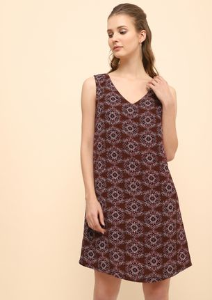 PRETTY PRINTED FOR YOU BURGUNDY SHIFT DRESS